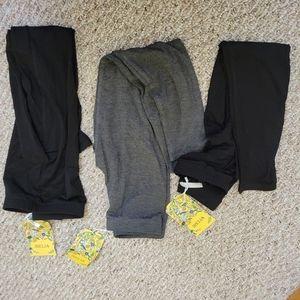LOT 3 XS Girls Leggings NEW 2 Black 1 Grey